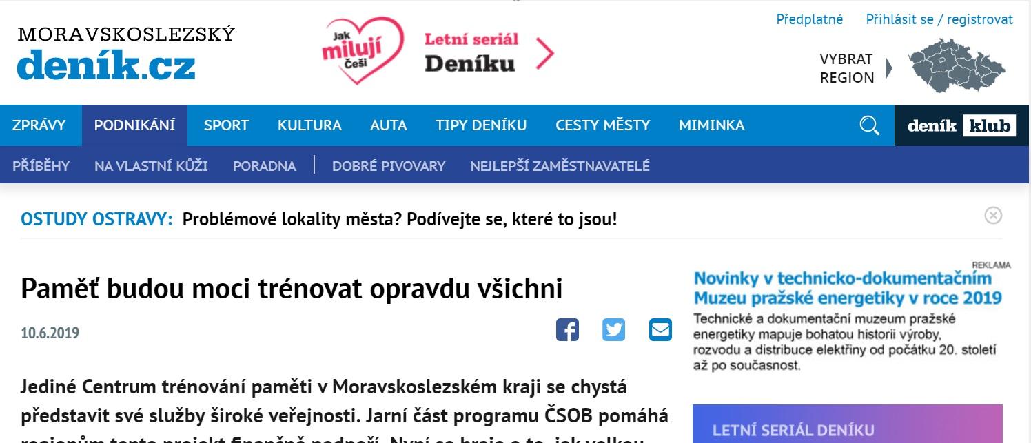 Moravskoslezský deník o našem projektu